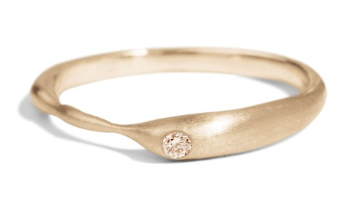 Reticulated One Champagne Diamond Band in 14kt Yellow Gold