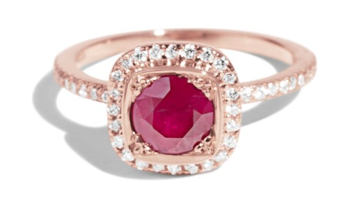 Custom Quince Ruby and Diamond Halo Ring
