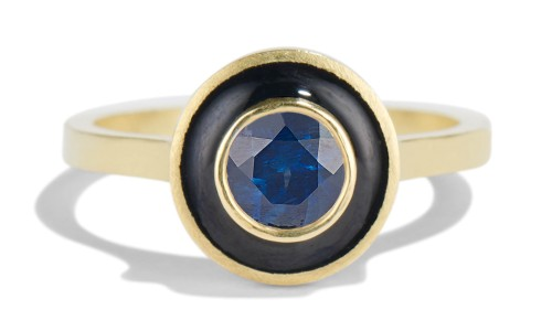 Senna 5mm Blue Sapphire Halo Ring with Black Enamel in 18kt Yellow Gold