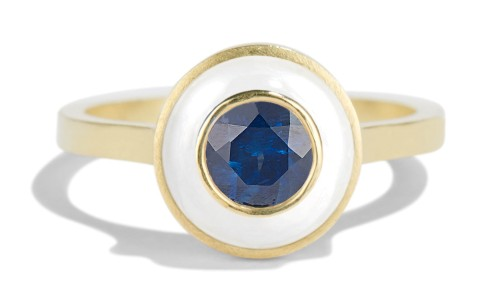 Senna 5mm Blue Sapphire Halo Ring with White Enamel in 18kt Yellow Gold