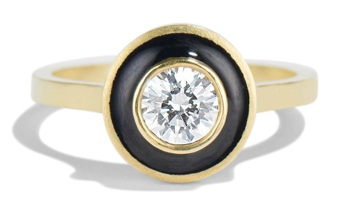 Senna .40ct Diamond Halo Ring with Black Enamel in 18kt Yellow Gold