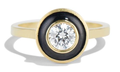 Senna .40ct Diamond Halo Ring with Black Enamel in 18kt Yellow Gold