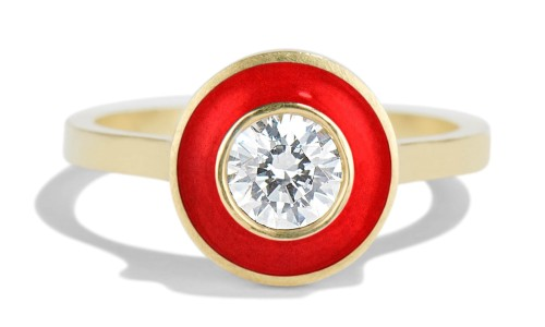 Senna .40ct Diamond Halo Ring with Tomato Red Enamel in 18kt Yellow Gold