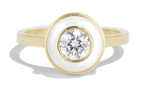 Senna .40ct Diamond Halo Ring with White Enamel in 18kt Yellow Gold