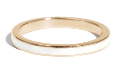 Senna Narrow Band with White Enamel in 14kt Yellow Gold