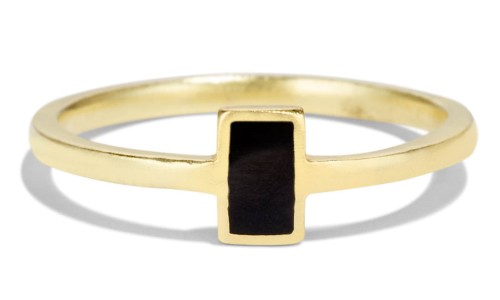 Senna Rectangle Ring with Black Enamel 18kt Yellow Gold