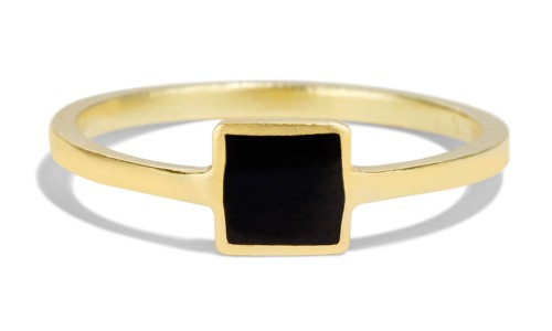 Senna Square Ring with Black Enamel in 18kt Yellow Gold