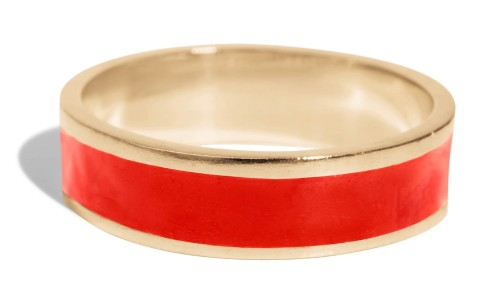 Senna Tall Band with Tomato Red Enamel in 18kt Yellow Gold