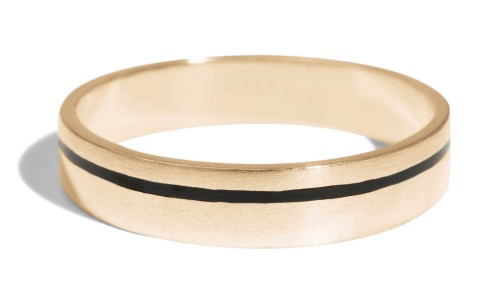 Senna Thin Band with Black Enamel in 18kt Yellow Gold