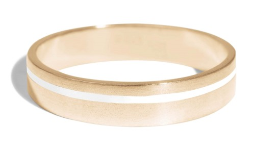 Senna Thin Band with White Enamel in 18kt Yellow Gold