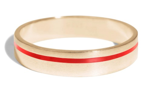 Senna Thin Band with Tomato Red Enamel in 18kt Yellow Gold