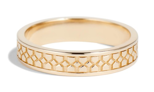 Shield Two Band in 14kt Yellow Gold