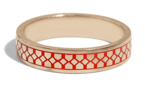 Shield Band with Tomato Red Enamel in 18kt Yellow Gold