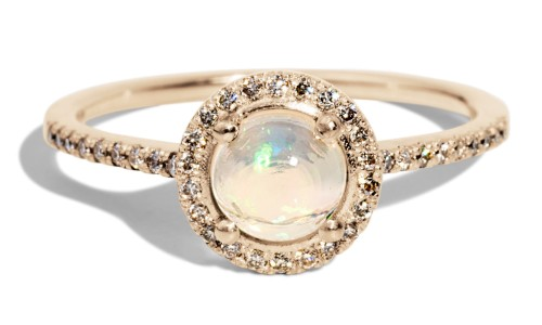 Soma 6mm Opal Cabochon with Champagne Diamond Halo Ring in 14kt Yellow Gold