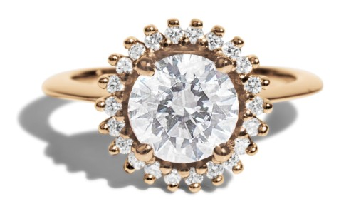 Stellium 1.5ct Diamond Halo Ring in 14kt Yellow Gold