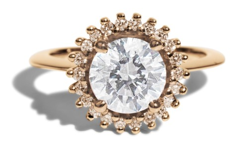 Stellium 1.5ct Diamond with Champagne Halo Ring in 14kt Yellow Gold