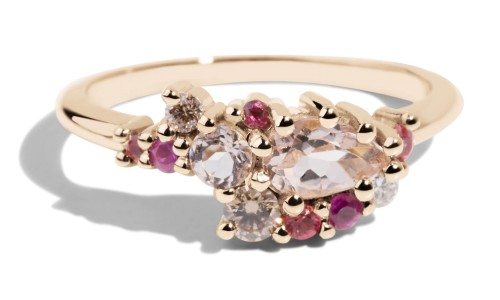 Sway Cluster Morganite, Diamond and Sapphire Ombré Ring in 14kt Yellow Gold