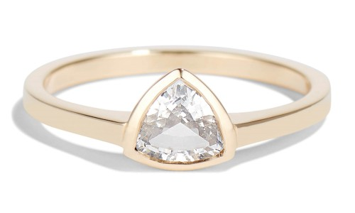 Trillion 6mm White Sapphire Ring in 14kt Yellow Gold